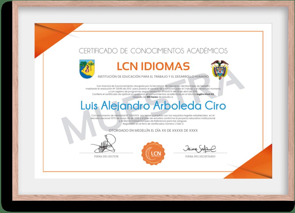 certificado academico LCN Idiomas